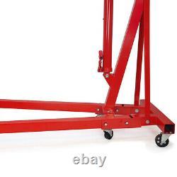 Red Garage 1 Ton Folding Engine Crane Stand Hydraulic Hoist Lift Jack Movable