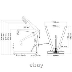 SGS 2 Ton Low Entry Professional Folding Engine Crane / Hoist / Lift