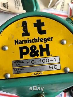 VTG new P&H HARNISCHEFEGER HC-100 1 TON HAND CHAIN HOIST MADE IN JAPAN SER#5604