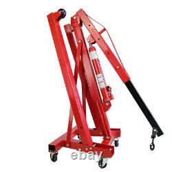 Wheeled 1 Ton 1T Engine Crane Stand Hoist Lift Jack Hydraulic Folding Garage Red