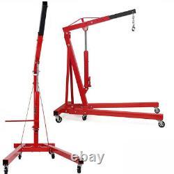 Wheeled 2 Ton Hydraulic Hoist Lift Jack Engine Crane Mechanics Folding Stand Red