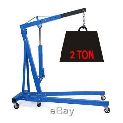 Wheeled 2 Ton Tonne Hydraulic Engine Crane Stand Folding Hoist Lift Jack Blue