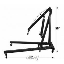Workshop Tool Foldable 2 Ton Hoist Lift Jack Hydraulic Engine Crane Stand Black